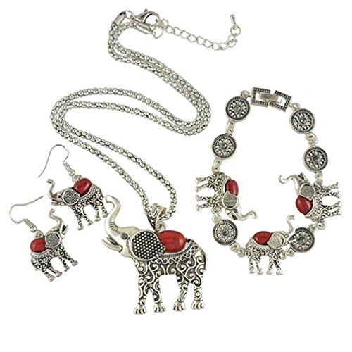 [G&T Lady Retro Ethnic Style Three Piece Earrings Necklace Bracelet Jewelry Elephant Shape] (Egyptian Woman Costume Uk)