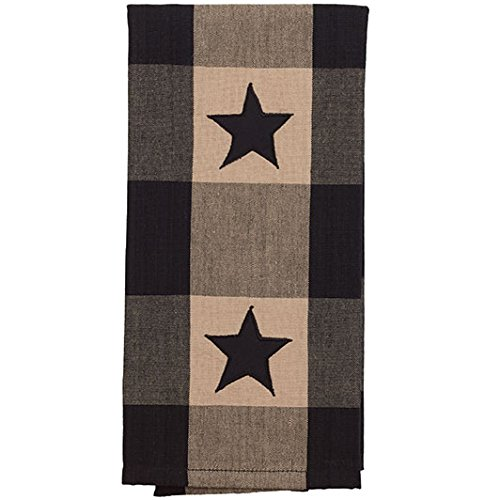 The Country House Collection Country Black Star Check Towel 19 x 28 Inch