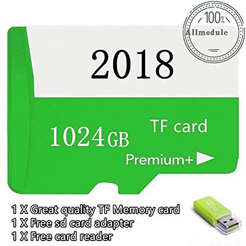 FidgetKute 2018 New 1TB Micro Memory Card Storage 1024GB for 1TB Micro SD Card Slot (Green) Green 1024GB (1 Tb Media)