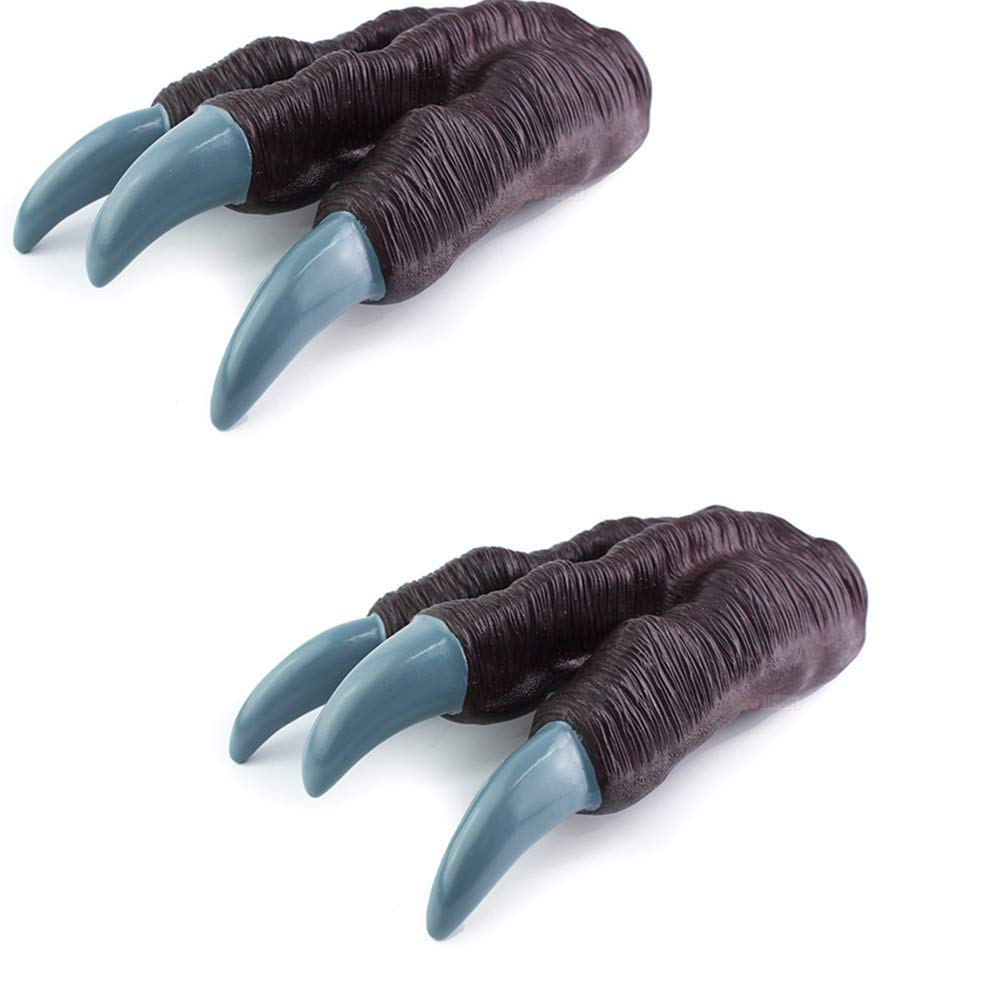 Kids Dinosaur Claws Gloves Realistic Toy Halloween Cosplay Gloves for Boys Girls 1 Pair Brown