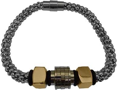 Stainless Steel Two-Tone Men/'s Nuts /& Bolts Popcorn Bracelet