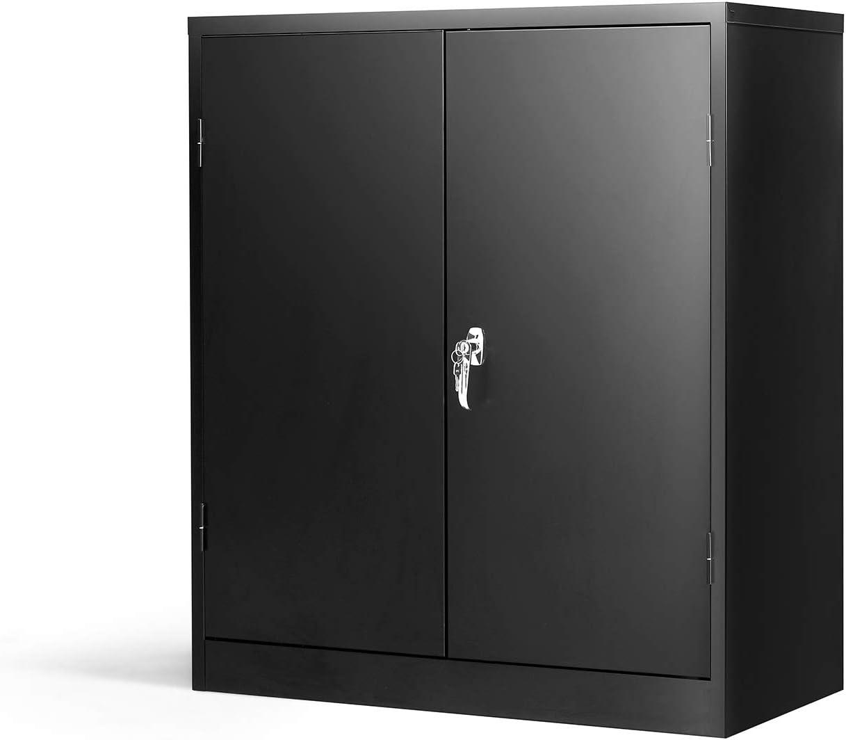 Steel SnapIt Storage Cabinet with 2 Adjustable Shelves Metal Storage Cabinet Black