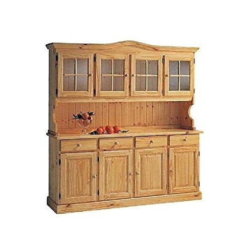 Anrichte in Kiefer Base + Aufzug Vitrine Holz Honig–Walnuss–Natürliche