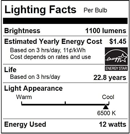 Soft White 2700K 75W Equivalent E26 Base Light Bulb with Medium Sunlite A19//LED//12W//ES//D//OD//27K A Type Household 12W