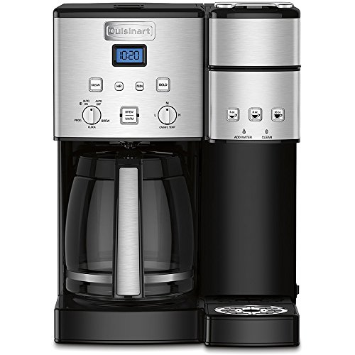 Cuisinart 12-Cup Coffee Maker and Single-Serve Brewer Stainless Steel (SS-15) with Milk Frother - Handheld Electric Foam Maker for Coffee, Latte, Cappuccino & Stainless Steel Milk Frothing Pitcher by Cuisinart (Image #1)