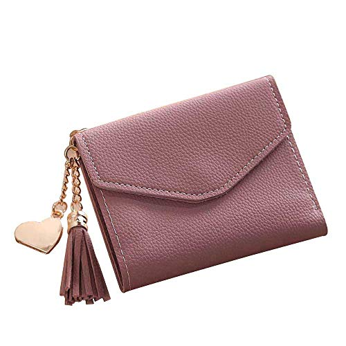 Yomiafy Women Simple Short Wallet Genuine Leather Purse Credit Card Holder Wallet for Women Heart Pendant Tassel (Red)