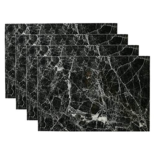 simpletome Placemats Marble Leather Table Mats Double Layer Easy Wiping Cleaning Set of 4 (Black)