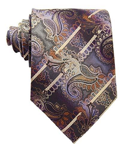 New Classic Paisley Striped Gold Brown Purple JACQUARD WOVEN Silk Men's Tie Necktie