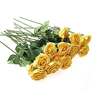 IPOPU 10 Pcs Romantic Real Touch Artificial False Latex Silk Blooming Roses Bouquet Floral Leaf for Home Wedding Party Garden Bridal Hydrangea Decorations DIY, Yellow 1