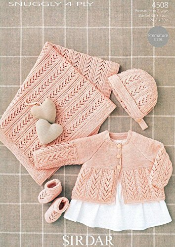 Sirdar Baby Matinee Coat, Blanket, Bonnet & Booties Knitting Pattern 4509 4 Ply by Sirdar by Sirdar