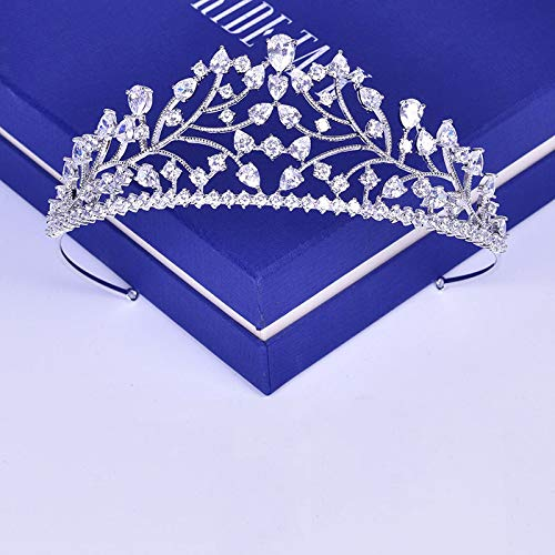 Pear White Zircon - Pear Cut Zircon Stone Tiara Headb Bridal Hair Accessories Wedding Jewelry Clear AAA Cubic Zirconia Crown Headpiece