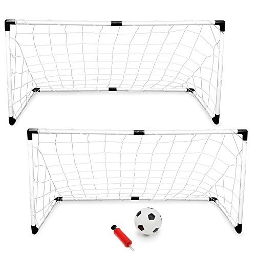 K-Roo Sports 2-Pack Youth Soccer Goals with Soccer Ball and Pump | Portable Goals with Nets and 6