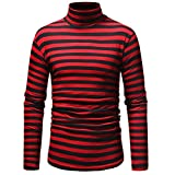 HTHJSCO Men's Blouse T Shirt Tank Tops, Men's Autumn Winter Striped Turtleneck Long Sleeve T-Shirt Top Blouse (Red, L)