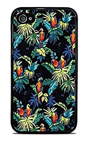Hawaii Print Black Silicone Case for iPhone 4 / 4S