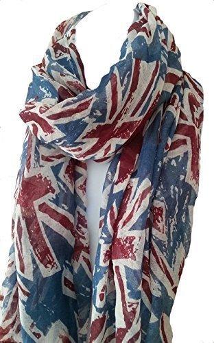 World of Shawls - Bolso estilo cartera para mujer SCHAL:Blau/Grau & TASCHE:Union Jack/Bus/Big Ben
