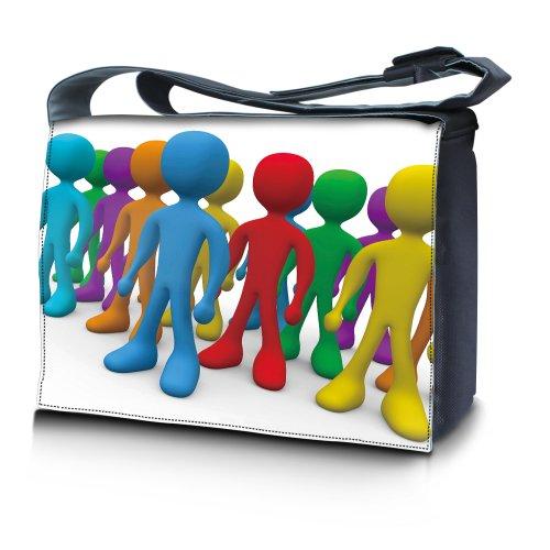 Luxburg® Design bolso bandolera de mensajero, de escuela bolso para portátil ordenadores Laptop Notebook 15,6 pulgadas, motivo: Hombres multicolores Hombres multicolores