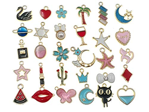 Kinteshun Assorted Enamel Earring Charms Pendant for DIY Bracelet Necklace Jewelry Making(30pcs,Small Size,Gold ()