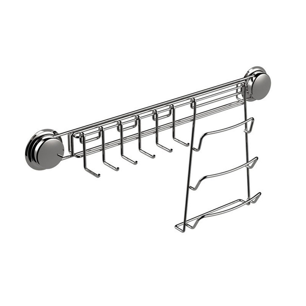 Kitchen Combination Rack, Knife Holder and Pot Lid Rack, Kitchen Stainless Steel Hooks Rack with Suction Cup