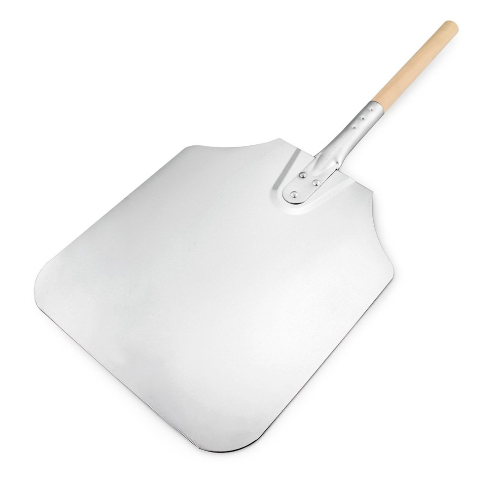 New Star Foodservice 50158 Aluminum Pizza Peel, Wooden Handle, 12 x 14 inch Blade, 26 inch overall