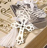 Separador de Libros Cruz plateada metal - recuerdo bautizo-boda- primera comunión