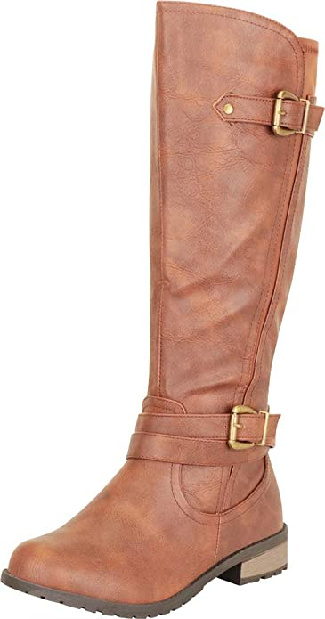 Cambridge Select Women/'s Slouchy Strappy Buckle Low Heel Moto Mid-Calf Boot