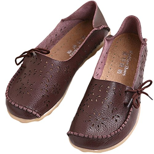 Vogstyle Women's Work Comfort Leather Moccasins Loafers Flats Slipper Shoes Style 2-coffee dUAArf0