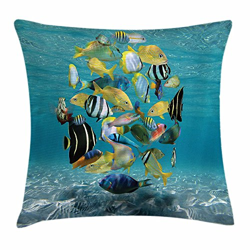 Caribbean Pillowcase - Fish Throw Pillow Cushion Cover, Shoal of Fish Forming a Circle above a Sandy Seabed in Clear Water Caribbean Ocean, Decorative Square Accent Pillow Case, 18 X 18 Inches, Multicolor