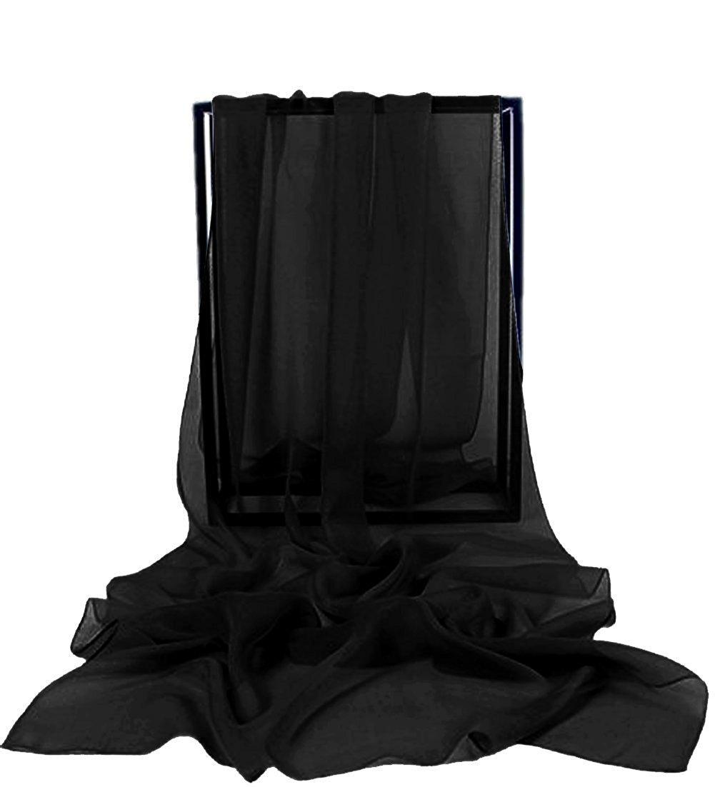 VaniaDress Women Chiffon Long Shawls Bridal Wrap Evening Dress Scarves V002PJ Black L V002PJ-BKL