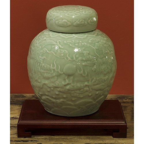 ChinaFurnitureOnline Porcelain Jar, Hand Crafted Imperial Dragon Ginger Jar with Lid Green Celadon Glaze