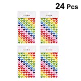 YeahiBaby Heart Stickers Self Adhesive Sticky Colorful Label Paper Label for Office 24pcs