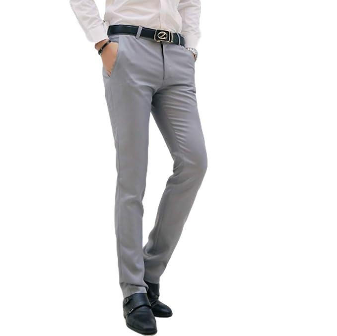 Amazon.com: AIK pantalones de vestir ajustados para hombre ...