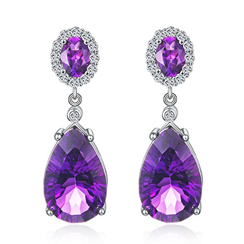 Aurora Tears Lady Elegant Amethyst Purple Crystal Teardrops Dangler Earrings Eardrop