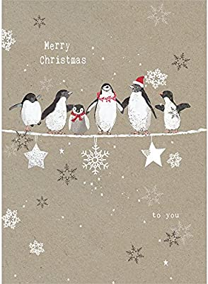 Amazon Com Tree Free Greetings Holiday Greeting Cards Penguin Merry Christmas Vintage Brown Recycled Paper Boxed Note Card Set 10 Pack Hb93309 Office Products