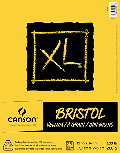 Canson XL Series Bristol Vellum Paper Pad, Heavyweight Paper for Pencil, Vellum Finish, Fold Over, 100 Pound, 11 x 14 Inch, Bright White, 25 Sheets by Canson