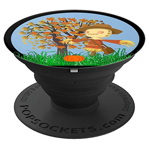 Fall Autumn Scarecrow Pumpkins Tree Halloween - PopSockets Grip and Stand for Phones and Tablets -