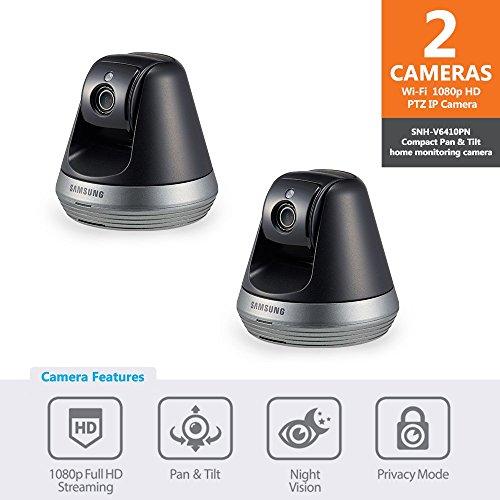 Samsung SNH-V6410PN SmartCam Pan/Tilt Full HD 1080p Wi-Fi IP Camera Bundle Double...