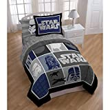 4 Piece Kids Black Grey Blue Star Wars the Movie Themed Comforter Twin Set, Classic 90s Movies Series Patchwork Bedding, Darth Vader R2D2 Stoormtrooper Characters Theme Patch Work Pattern, Off White