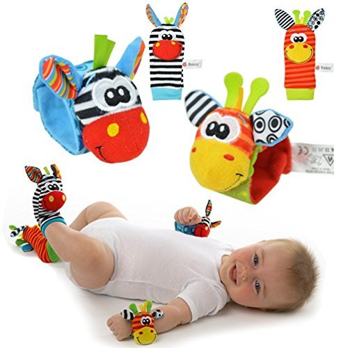 YISET Infant Baby Soft Toy Wrist Rattles Socks Developmental Sozzy-hot 4pcs by YISET
