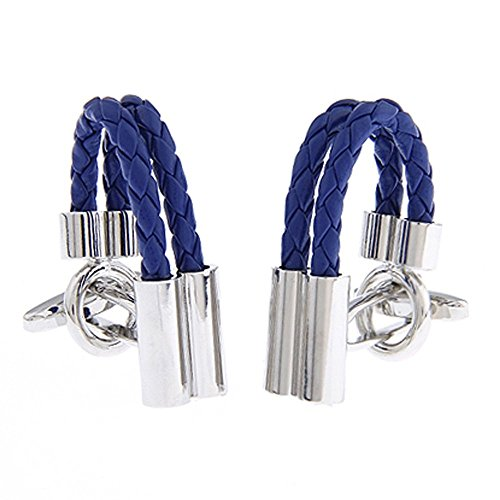 Style Cufflinks Cufflinks (Double Cylinder Leather Chain Blue Style Dress Shirt)