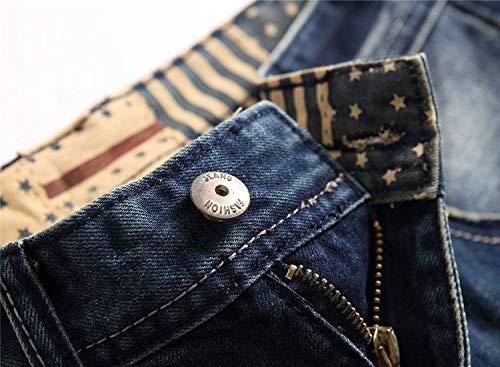 Flacos Hombres Algodón Pantalones Cher Jeans De Azul Rasgados Retro Leisure Mezclilla Vaqueros Los Slim De Casual De Fit Pantalones Pantalones Skinny Straight tRwqgYfTnU