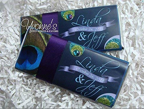 Peacock Candy Bar Wrappers-Personalized Wrappers for Chocolate Bar Favors-Birthday-Sweet 16, Bat Mitzvah, Quince Anos, Adult Milestone Birthday, Bridal Shower (SET OF 12) ** Chocolate Not Included **