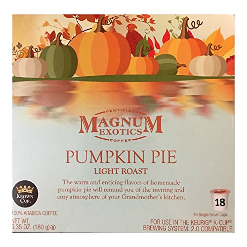 - Limited Edition Magnum Exotics Pumpkin Pie K-Cup! Light Roast! 18 Single Serve Cups Per Package!