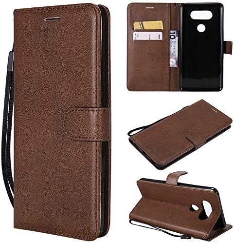 LG V20 ケース手帳型 OMATENTI レザー 革 薄型 手帳型カバー カード入れ スタンド機能 エルジー LG V20 おしゃれ 手帳ケース (1-ブラウン)