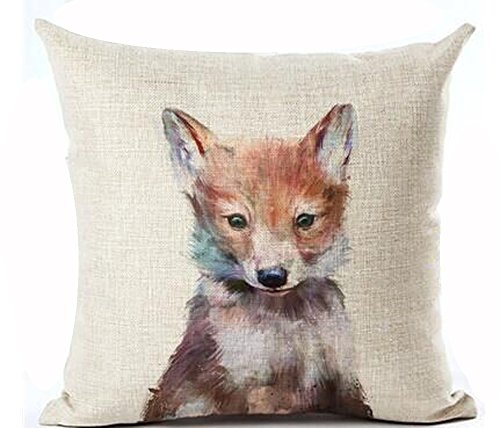 Nordic Simple Ink Painting Watercolor Animal Adorable Fox Cotton Linen Throw Pillow Case Personalized Cushion Cover NEW Home Office Decorative Square 18 X 18 Inches Christmas (Fox Pillow)