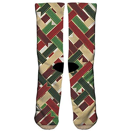 SiningOP Christmas Ribbon Wrap Candy Cane Athletic Sports Socks,Travel & Flight Socks,Painting Art Printed Funny Socks.