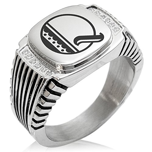 (Two-Tone Stainless Steel Letter Q Alphabet Initial Metro Retro Monogram Engraved Clear Cubic Zirconia Ribbed Needle Stripe Pattern Biker Style Polished Ring, Size 11)