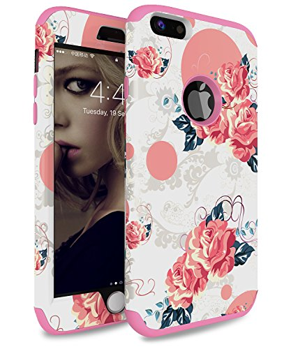 iPhone 6 Plus Case, iPhone 6s Plus Case ADCOOG [Flower] Three Layers Heavy Duty Case for Girls/Women Hybrid Protective Floral Case for iPhone 6 Plus,iPhone 6s Plus (Pink+Chinese Rose)