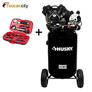 Husky 30 Gal. 155 psi Ultra-Quiet Portable Electric Air Compressor C302H and Toucan City Tool kit (9 – piece)