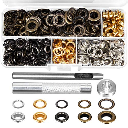 HOMEIDOL Grommets Eyelets 250 Sets with 3 Pieces Install Tool Kit (4 Colors,1/3 inch 50 pcs,1/4 inch 200 pcs)with Storage Box for Shoe Clothes Leather Crafts,DIY Projects