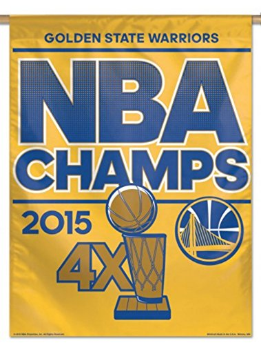 Golden State Warriors 2015 4 Time NBA Champions WinCraft Gold Vertical Flag